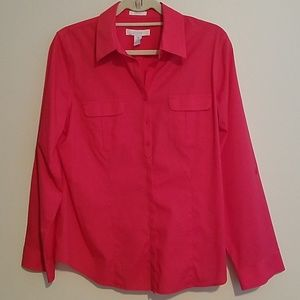 Chico's No Iron Coral Button Down Blouse
